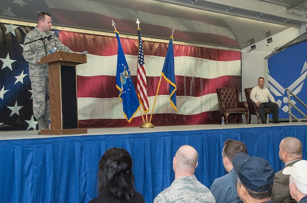 Brig. Gen. Carl Buhler, Ogden Air Logistics Complex commander, addresses the crowd during a 575th Aircraft Maintenance Squadron activation ceremony Dec. 11 at Joint Base San Antonio-Randolph. The 575th AMXS is a geographically separate unit assigned to the 309th Aircraft Maintenance Group, Ogden Air Logistics Complex Hill Air Force Base, Utah. The squadron is responsible for depot level maintenance, restoration and modification of over 500 T-38 Talon aircraft for the United States Air Force and Navy. (U.S. Air Force photo by Johnny Saldivar)