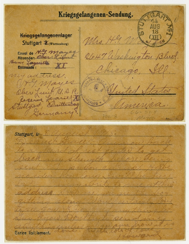 This collection of papers pertaining to Lt. Howard G. Mayes poignantly illustrates the human cost of the war effort. This selection of correspondence illustrates what it was like for many American families to learn a loved one had been injured, captured or killed. The German army permitted limited correspondence between interned airmen and their families. This postcard from Stuttgart, Germany, was mailed by Lt. Howard G. Mayes to his family. (U.S. Air Force photo)