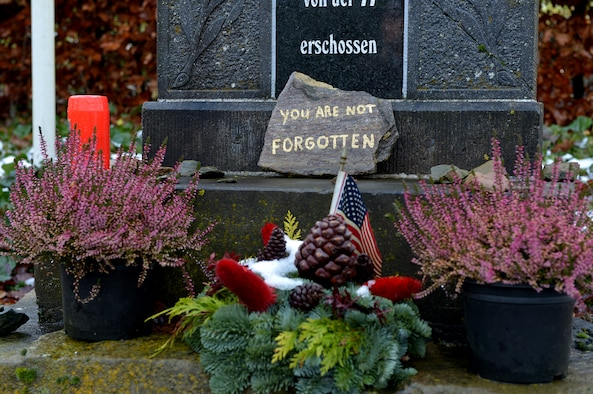 A memorial stands on a hill outside of Wereth, Belgium, Dec. 10, 2014. The memorial is a reminder of the heroic acts of 11 African American U.S. Soldiers during World War II. They took refuge in the small town, and after the Germans captured them, they refused to divulge information about the family who housed them. The 11 Soldiers were led from the city and executed. (U.S. Air Force photo by Airman 1st Class Kyle Gese/Released)