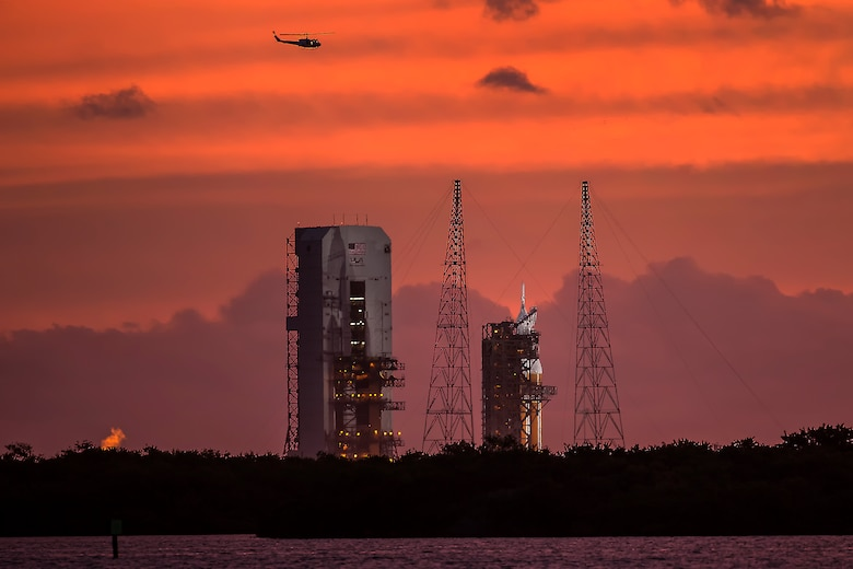 A United Launch Alliance Delta IV rocket roars into space with the Orion spacecraft atop it from Launch Complex 37 Dec. 5, 2014, at Cape Canaveral Air Force Station, Fla. The 45th Space Wing provided support for NASA's successful launch of their Exploration Flight Test-1 mission. (Courtesy photo/John Studwell/AmericaSpace)