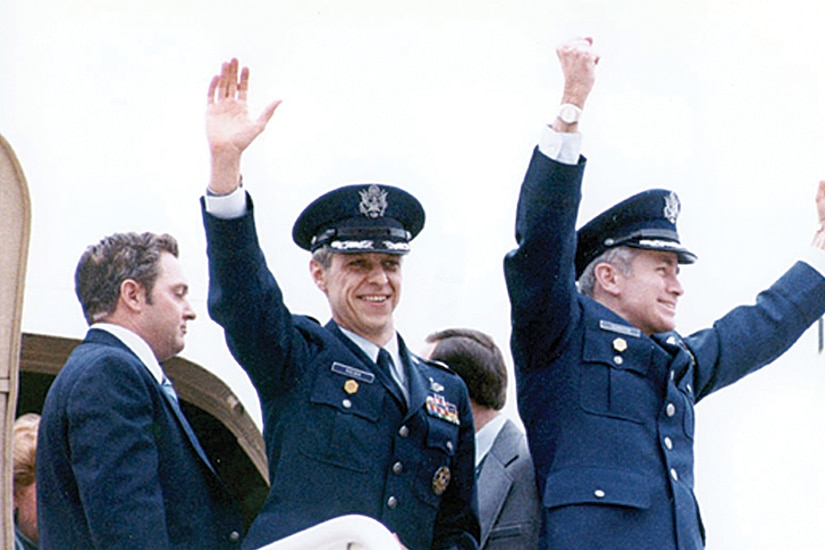 Defense attachés serve as senior defense officials and are responsible for all DOD activities and personnel assigned to the Embassy of the country in which they serve. Here, Defense Attaché Col. Thomas Schaefer, right, and Assistant Air Attaché Lt. Col. David Roeder arrive at Andrews Air Force Base on Jan. 27, 1981, after being held hostage for 444 days by Iran. Schaefer was the most senior serviceman taken hostage. DIA History Photo
