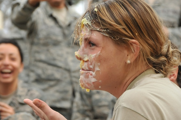 Lt. Col Beth Kelley Horine, commander, 4th Combat Camera Squadron with pie on her face from a squadron team building exercise. (courtesy photo)