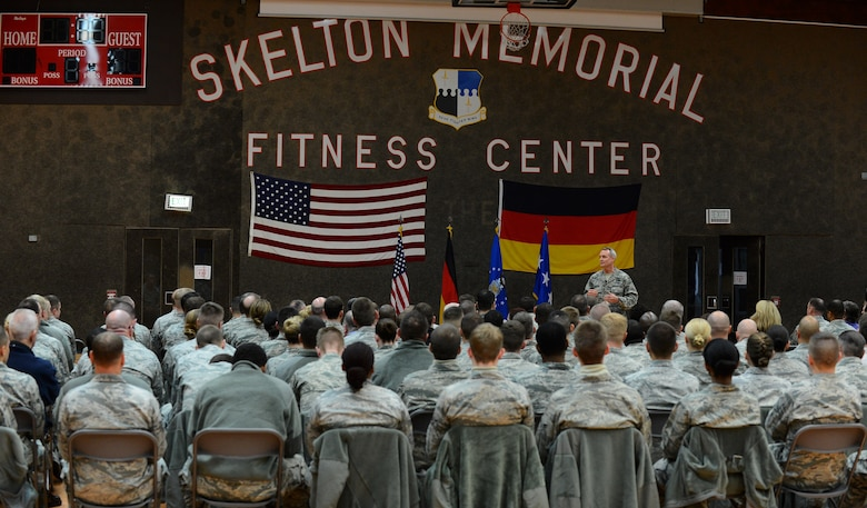 U.S. Air Force Lt. Gen. Darryl Roberson, 3rd Air Force and 17th Expeditionary Air Force commander, speaks during an all call at the Skelton Memorial Fitness Center on Spangdahlem Air Base, Germany, Dec. 9, 2014. At the end of the call, Roberson opened the floor for a question-and-answer session. (U.S. Air Force photo by Airman 1st Class Luke Kitterman/Released)