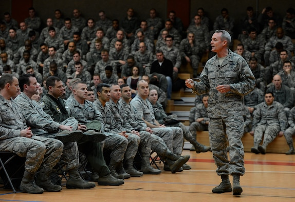 U.S. Air Force Lt. Gen. Darryl Roberson, 3rd Air Force and 17th Expeditionary Air Force commander, speaks during an all call at the Skelton Memorial Fitness Center on Spangdahlem Air Base, Germany, Dec. 9, 2014. Roberson spoke about his priorities and the direction the Air Force is moving in. (U.S. Air Force photo by Airman 1st Class Luke Kitterman/Released)