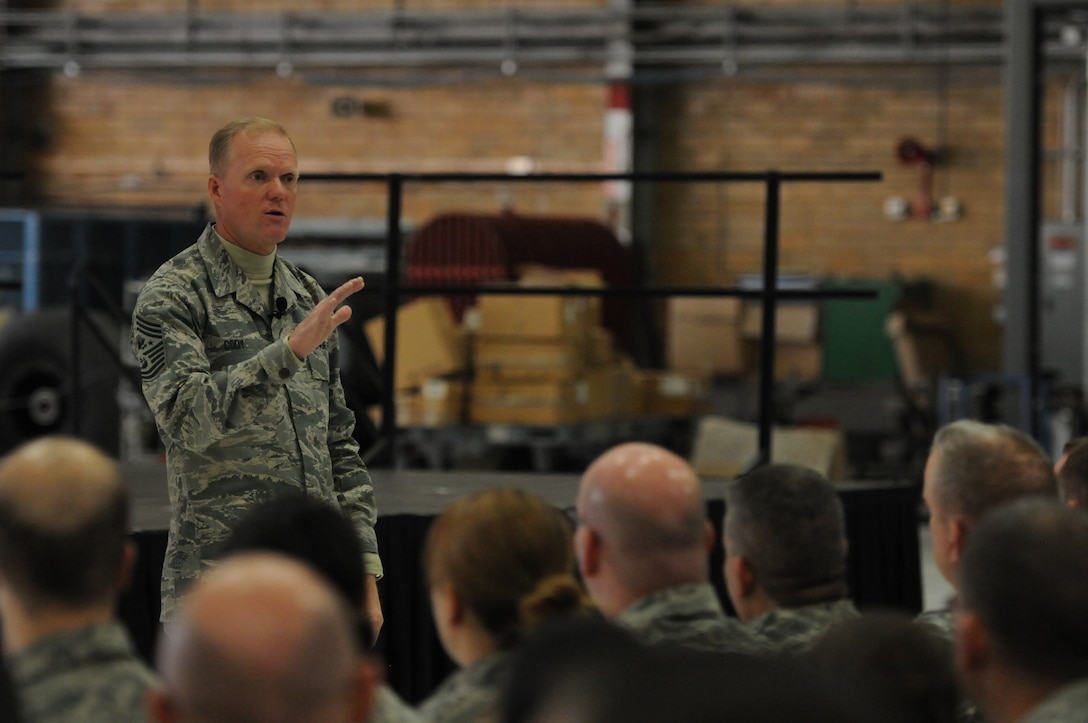 Chief Master Sgt. of the Air Force James A. Cody holds an Airmen's Call while visiting the 934th Airlift Wing, Minneapolis, Minn., Nov.1, 2014.  In addition to sharing remarks, Chief Cody opened the floor up for questions where he was able to address the concerns of Airmen.  (U.S. Air National Guard photo by Master Sgt. Ralph J. Kapustka)