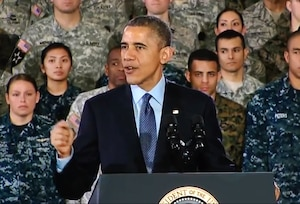 President Barack Obama addressing troops at Joint Base McGuire-Dix-Lakehurst, N.J., Dec. 15, 2014. DoD video still