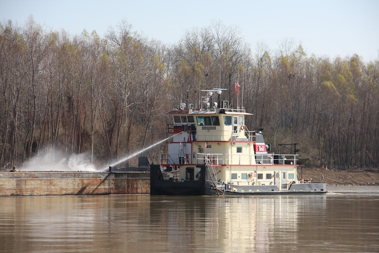 Vicksburg, Miss… The U.S. Army Corps of Engineers' Vicksburg District Mat Sinking Unit (MSU) has completed its scheduled work for 2014. During this season, the MSU has placed over 500 acres of articulated concrete mats on the banks of the Mississippi River.