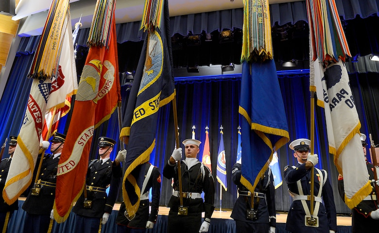 The Joint Service Honor Guard presents the colors during the Spirit of Hope Award ceremony Dec. 11, 2014, hosted by Secretary of the Air Force Deborah Lee James in the Pentagon.  The award is presented to individuals or organizations from each of the military services whose patriotism and service to members of the U.S. Armed Forces reflects the patriotism and service of Bob Hope.  The Air Force recipient was retired Tech. Sgt. Victor Pulido III.  (U.S. Air Force photo/Scott M. Ash)