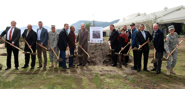 Brig. Gen Mark Toy (4th from left) and Col. Kim Colloton (far right) join elected officials and agency representatives for the ceremonial ground breaking of Phase Two of the Murrieta Creek Flood Protection and Environmental Restoration Project Dec. 15 at the Temecula Community Center.