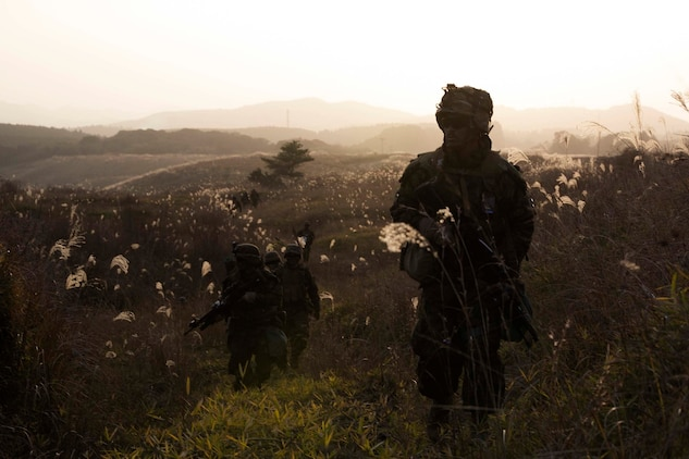 U.S. Marines lead a foot patrol Dec. 9 during Forest Light 15-1 at the Oyanohara Training Area in Yamato, Kumamoto prefecture, Japan. Forest Light is a routine, semi-annual exercise designed to enhance the U.S. and Japan military partnership, solidify regional security agreements and improve individual and unit-level skills. The Marines are with 2nd Battalion, 9th Marine Regiment, currently attached to 4th Marine Regiment, 3rd Marine Division, III Marine Expeditionary Force, under the unit deployment program.