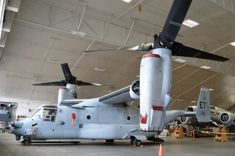 DAYTON, Ohio -- The Bell-Boeing CV-22B in the restoration hangar at the National Museum of the U.S. Air Force. (U.S. Air Force photo)