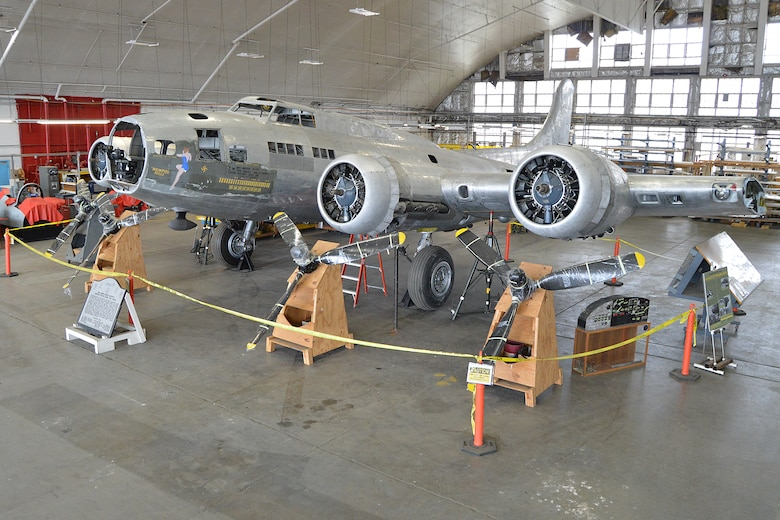 "DAYTON, Ohio (12/2014) -- The B-17F ""Memphis Belle"" in the restoration hangar at the National Museum of the United States Air Force. (U.S. Air Force photo)"