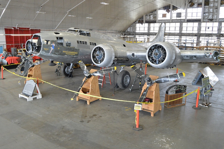 """DAYTON, Ohio (12/2014) -- The B-17F """"Memphis Belle"""" in the restoration hangar at the National Museum of the United States Air Force. (U.S. Air Force photo)"""