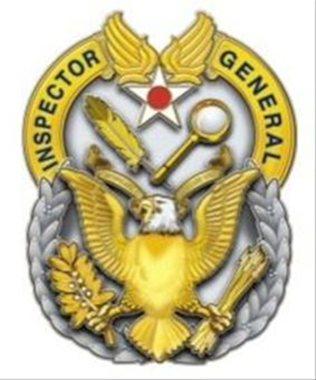 The inspector general office Air Force-wide adopted a new duty badge in August 2014, which is now worn by all assigned IG inspectors at RAF Mildenhall. (U.S. Air Force graphic)