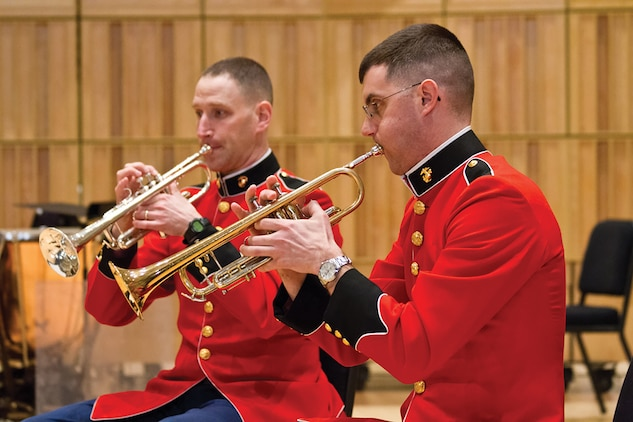 Marine Brass Ensembles will perform holiday favorites and other classical works at 2 p.m., Sunday, Dec. 21, at John Philip Sousa Band Hall at the Marine Barracks Annex. (U.S. Marine Corps photo by Gunnery Sgt. Amanda Simmons/released)