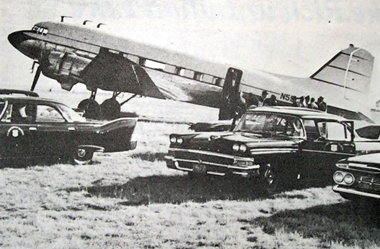 This Douglas DC-3 aircraft was operated by the U.S. Army Corps of Engineers in 1959 as it brought visiting dignataries to the Garrison Dam project. The planes would land on the grass runway at Washburn Municipal Airport and cars would meet the planes to take visitors to check progress of the nearby construction. (Photos are property of the Beeks family and may not be reused without consent.)