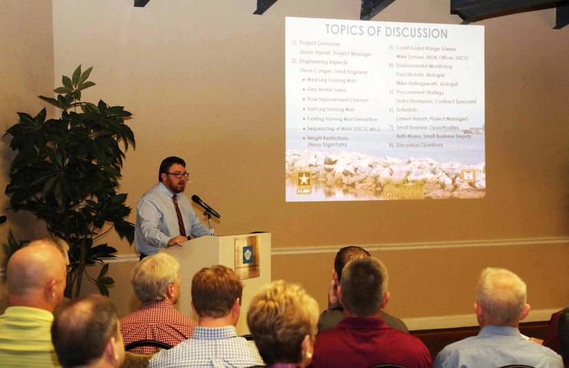 Project manager Jason Harrah presents during an industry day held in November to engage and inform contractor representatives regarding the requirements and challenges of the Mile Point project.