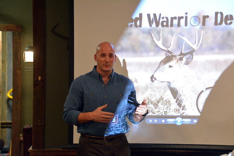 SPRING VALLEY, Wis. – Col. Dan Koprowski, U.S. Army Corps of Engineers, St. Paul District commander, talks about honoring veterans during a dinner with Corps employees, veterans and hunters Dec. 12. The group gathered at the Eau Galle Recreation Area, near Spring Valley, Wis., Dec. 13, for the third annual deer hunt. The Corps partnered with the Wounded Warrior Project and the Wisconsin Department of Natural Resources to host the event. The goal was to connect veterans with other veterans and honor them for their service while also managing the deer herd in the recreation area.