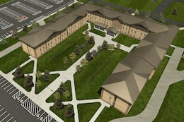 A rendering of the new three-story HHB barracks at Fort Campbell that will house 296 Soldiers.