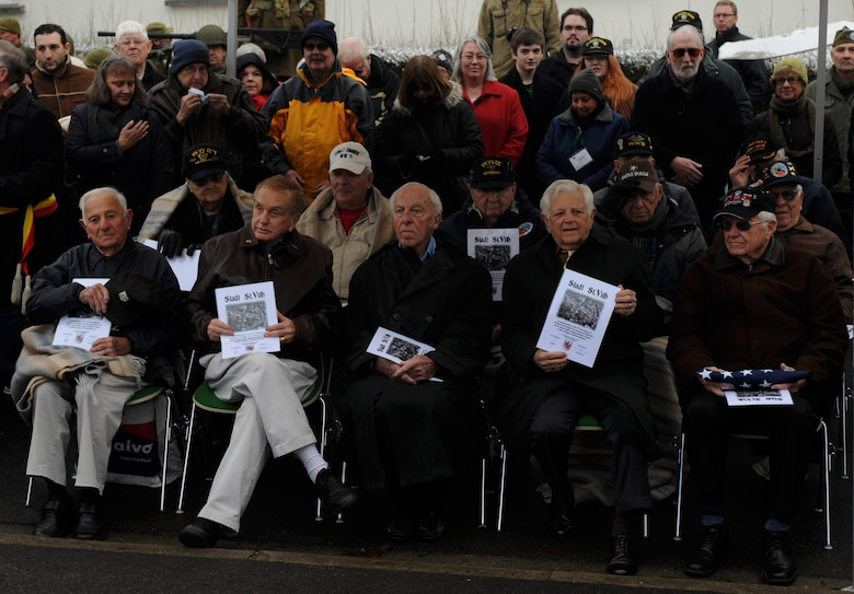 U.S. Army veterans sit together during a Battle of the Bulge memorial ceremony at St. Vith, Belgium, Dec. 14, 2014. More than a dozen veterans attended the ceremony marking the 70th anniversary of the battle. (U.S. Air Force photo by Airman 1st Class Luke Kitterman/Released)