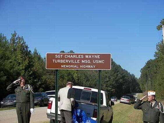 19OCT2014-VFW&Memorial Sign. Monroe, Alabama County Road 17 Dedication For Sgt. Charles Wayne Turberville