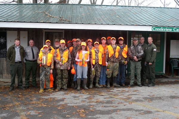 Youth hunters, mentors and sponsors pose together Dec. 7, 2014 following the two-day 2014 Defeated Creek Youth Deer Management Hunt held at Defeated Creek Recreation Area in Carthage, Tenn.