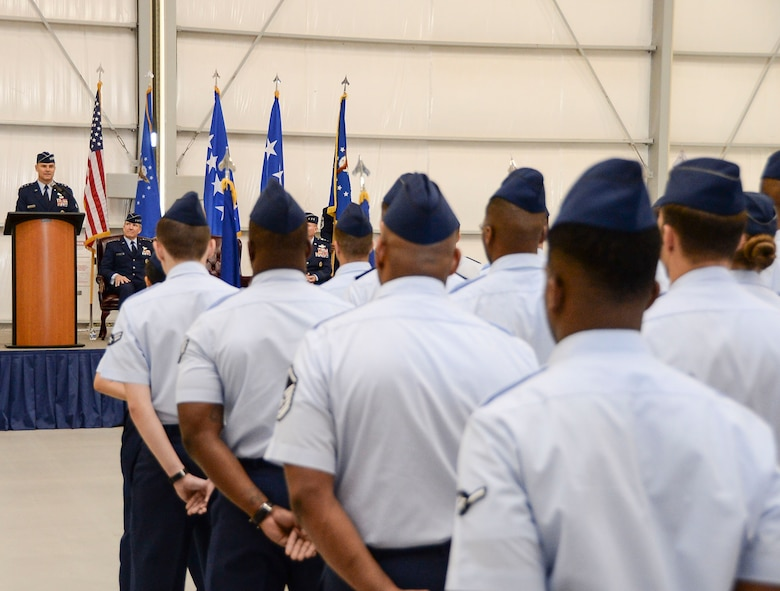 Lt. Gen. Chris Nowland, 12th Air Force (Air Forces Southern) Commander, speaks to Airmen of 12th Air Force (Air Forces Southern) after assuming command Dec. 19, 2014 at Davis-Monthan AFB, Ariz. 12th Air Force (Air Forces Southern) is responsible for the combat readiness of eight active-duty wings, including the 355th Fighter Wing also located at Davis-Monthan AFB, and one direct reporting unit. These subordinate commands operate more than 650 aircraft with more than 55,000 uniformed and civilian Airmen. (U.S. Air Force photo by Staff Sgt. Adam Grant/Released)