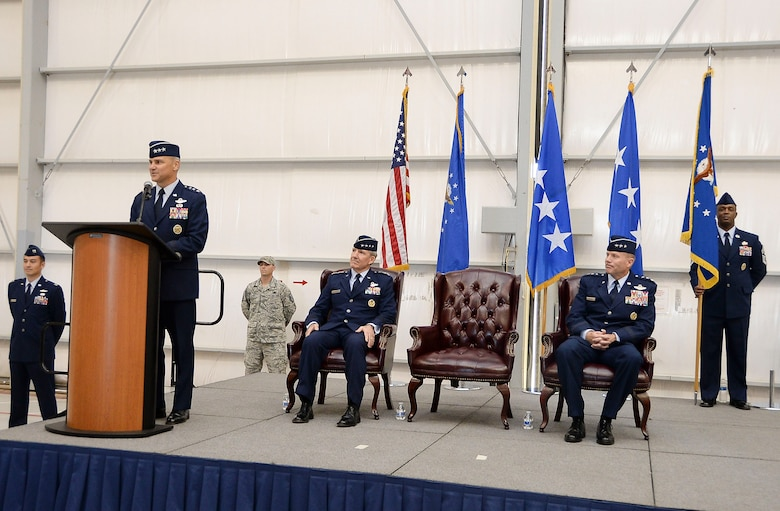 Lt. Gen. Chris Nowland, 12th Air Force (Air Forces Southern) Commander, speaks to Airmen of 12th Air Force (Air Forces Southern) after assuming command on Dec. 19, 2014 at Davis-Monthan AFB, Ariz., Dec. 19, 2014. 12th Air Force (Air Forces Southern) is responsible for the combat readiness of 8 active-duty wings, including the 355th Fighter Wing also located at Davis-Monthan AFB, and one direct reporting unit. These subordinate commands operate more than 800 aircraft with more than 64,500 uniformed and civilian Airmen. (U.S. Air Force photo by Staff Sgt. Adam Grant/Released)