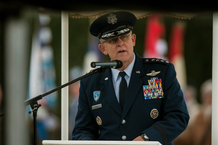 U.S. Air Force Gen. Frank Gorenc, U.S. Air Forces in Europe and Air Forces Africa commander, speaks during a ceremony at Luxembourg American Cemetery and Memorial Dec. 16, 2014, in Luxembourg. The ceremony honored all veterans who fought during the Battle of the Bulge, which began Dec. 16, 1944. (U.S. Air Force photo by Senior Airman Rusty Frank/Released)