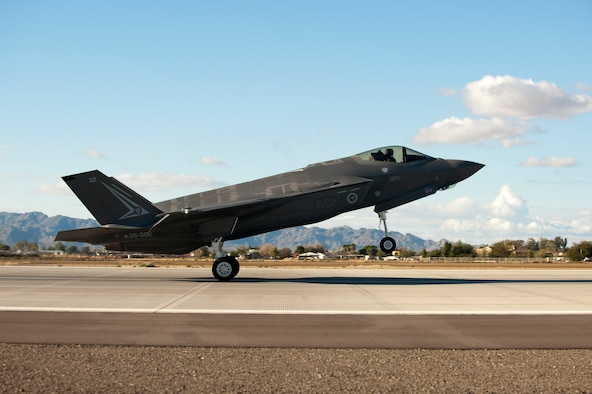The first Royal Australian air force F-35A Lightning II jet arrived Dec. 18, 2014, at Luke Air Force Base, Ariz. The jet's arrival marks the first international partner F-35 to arrive for training at Luke AFB. (U.S. Air Force photo/Staff Sgt. Staci Miller)