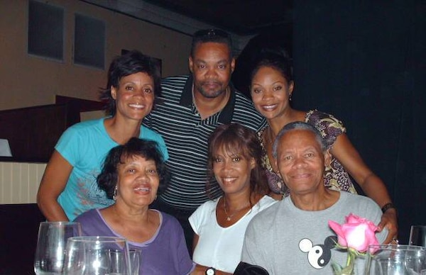 Mike Cornish looks forward to spending more time with his family.  Family members pictured in this photo (left to right) include his mom, Elsie, dad, Milton, and his three sisters; Michelle, Brenda and Elsa