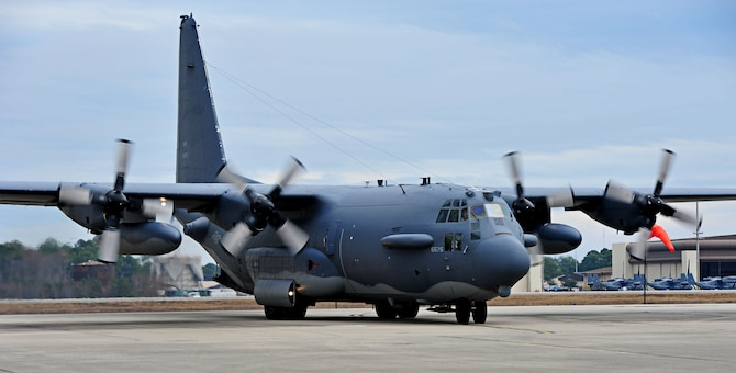 """Wicked Wanda"" an AC-130H Spectre gunship taxis for the last time after serving 43 years with the 16th Special Operations Squadron and 4th SOS on Hurlburt Field, Fla., Dec. 19, 2014. ""Wicked Wanda"" flew her last flight here Dec. 19, and is scheduled to officially retire to the Hurlburt Field Air Park in 2015. (U.S. Air Force photo/Senior Airman Desiree W. Moye)"