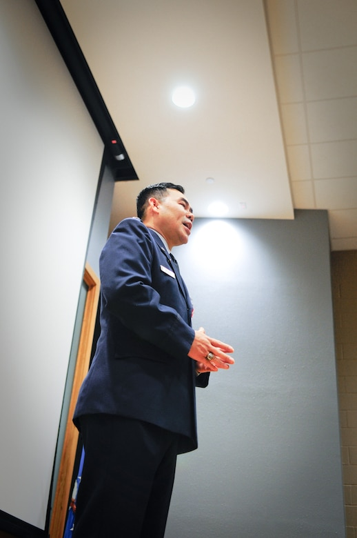 Air Force Lt. Col. Don Nguyen, assistant director of operations for the 273rd Information Operations Squadron (IOS), Texas Air National Guard, makes remarks during his retirement ceremony in San Antonio, Nov. 23, 2014. Nguyen retired after 27 years of military service, including time with the Texas Army and Air National Guards. (U.S. Air National Guard photo by Tech. Sgt. Eric L. Wilson / Released) 141123-Z-IT549-002