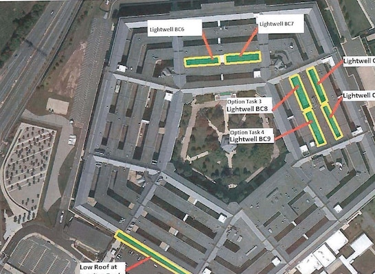 An overhead view of the Pentagon shows possible locations of a vegetative roof for a feasibility study requested by Pentagon Services to reduce energy consumption. Although it was found the facility can't structurally support the weight associated with a 'green roof' Huntsville Center's Facility Repair and renewal program will likely be called upon in the future to provide similar assessments.