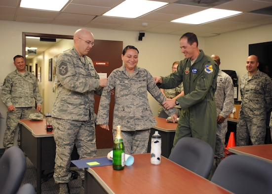 U.S. Air Force Col. James Meger, 355th Fighter Wing commander, and Chief Master Sgt. Ryan Peterson, 355th FW command chief, punch the rank of technical sergeant on to Tech. Sgt. Lisa Brow, 355th Civil Engineer Squadron NCO in charge of the Emergency Management flight's training section, at Davis-Monthan Air Force Base, Ariz., Dec. 23, 2014. Brow was promoted via Stripes for Exceptional Performers for her consistent drive to serve her Airmen and excel in her career. (U.S. Air Force photo by Airman 1st Class Cheyenne Morigeau/Released)