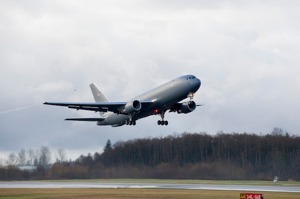 The KC-46 Pegasus development program completed its first flight of Engineering, Manufacturing and Development (EMD) aircraft #1 Dec. 28, 2014. The maiden flight took off at 9:29 AM PST from Paine Field in Everett, Washington, and landed at 1:01 PM PST at Boeing Field in Seattle.EMD #1 is a provisioned 767-2C freighter and the critical building block for the KC-46 missionized aerial refueler.