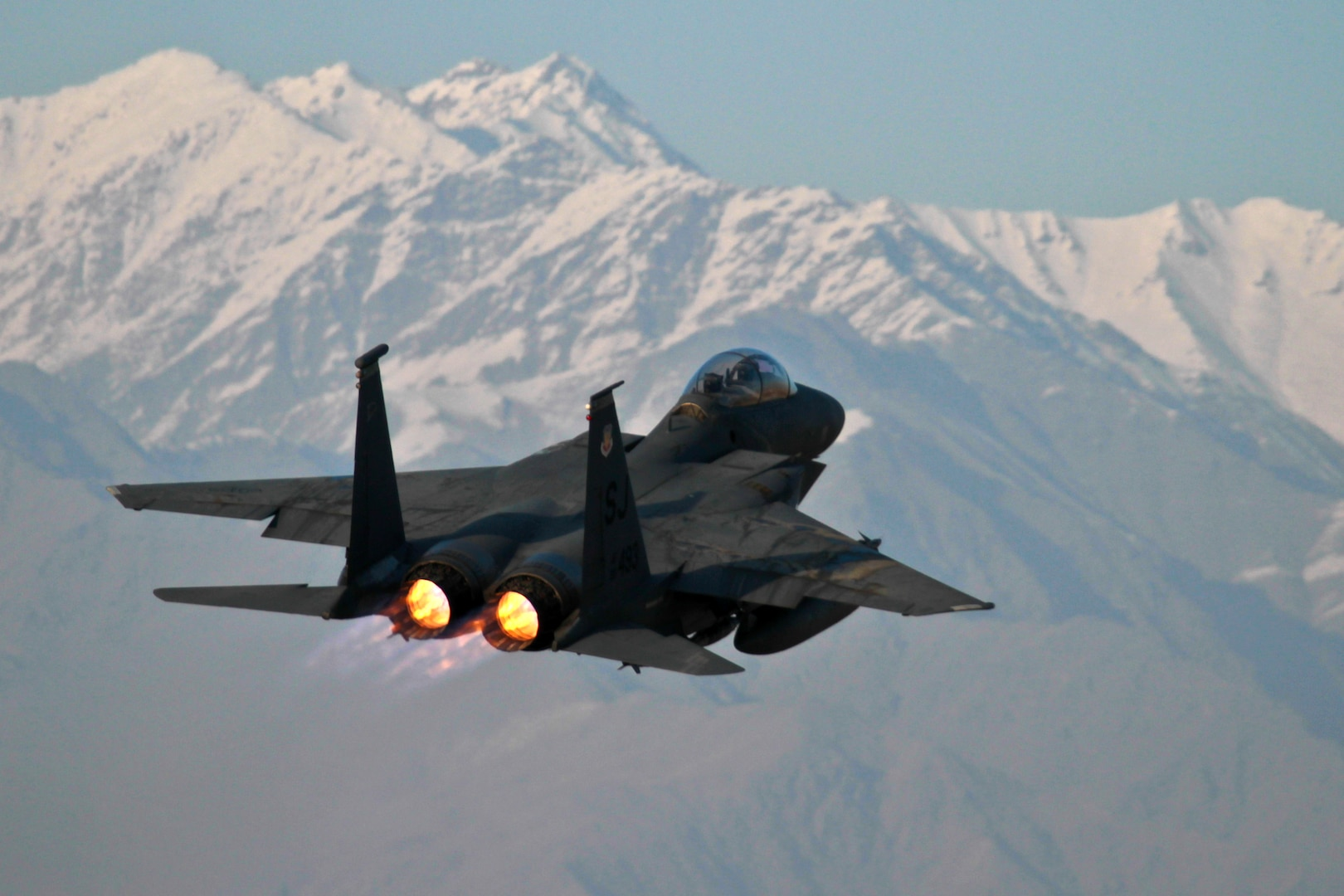 A U.S. Air Force F-15E Strike Eagle from the 335th Expeditionary Fighter Squadron takes off from Bagram Air Field, Afghanistan, Dec. 21, 2011. President Barack Obama and Defense Secretary Chuck Hagel made remarks Dec. 28, 2014, about the combat mission's conclusion in Afghanistan.