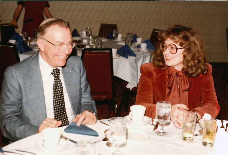 Sharon Caine, U.S. Army Corps of Engineers Sacramento District real estate division chief, enjoys lunch with George Waddell, her former supervisor in engineering division and mentor, at a district function in the 1980s. Caine will retire at the end of 2014 after serving the U.S. Army Corps of Engineers for 54 years. Most of that time was spent with the Corps' Sacramento District.