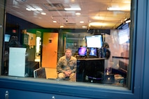MCGHEE TYSON AIR NATIONAL GUARD BASE, Tenn. - Tech. Sgt. Charles Givens, broadcast technician, operates the control room in the broadcast studio of Spruance Hall here during a VIP event Sept. 15, 2014, at the I.G. Brown Training and Education Center.  (U.S. Air National Guard photo by Master Sgt. Jerry Harlan/Released)