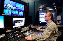 MCGHEE TYSON AIR NATIONAL GUARD BASE, Tenn. - Staff Sgt. Michael E. Davis, broadcast journalist, produces a live broadcast at the I.G. Brown Training and Education Center here March 18, 2014. (U.S. Air National Guard photo by Master Sgt. Kurt Skoglund/Released)