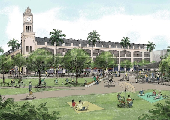 This drawing of Hawaii's Schofield Barracks Town Center Area Development Plan, done by the contractor HB&A, demonstrates how the proposed parking structure would match the historic decor of the nearby quads. The Town Center ADP project, which won an American Planning Association Award, was managed by Huntsville Center's Planning and Programming Branch.