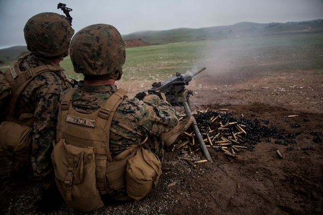 U.S. Marine Pfc. Jacob Piazza, right, fires a .50-caliber machine gun at targets during realistic urban training aboard Camp Roberts, Calif., Dec. 14, 2014. Piazza is a rifleman with Weapons Company, Battalion Landing Team 3rd Battalion, 1st Marine Regiment, 15th Marine Expeditionary Unit. RUT prepares the 15th MEU's Marines for their upcoming deployment, enhancing their combat skills in environments similar to those they may find in future missions. (U.S. Marine Corps photo by Cpl. Elize McKelvey/Released)