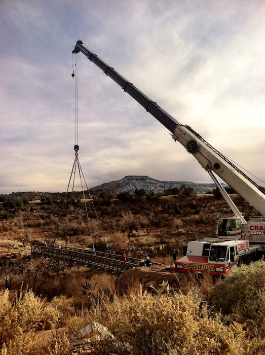 """Bridge installation in a cove by the boat ramp at Abiquiu Lake, N.M."" Photo by Austin Kuhlman, Nov. 21, 2014."