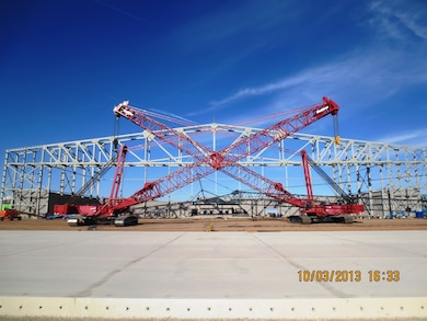 "2014 District Photo Drive entry. Photo by Garry Vollbrecht, Oct. 3, 2014.  ""Two Manitowoc cranes after setting the main box truss at the FY-12 Two Bay Hangar at Cannon Air Force Base, N.M."""