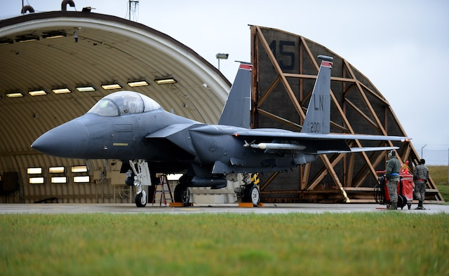 Airmen look over an F-15E Strike Eagle assigned to the 494th Fighter Squadron at Royal Air Force Lakenheath, England, Dec. 18, 2014, before the pilot participates in exercise Iron Hand 15-2 at Spangdahlem Air Base, Germany. Iron Hand 15-2 brought together all of United States Air Forces in Europe-Air Force Africa's fighter airframes to train. (U.S. Air Force photo/Airman 1st Class Luke Kitterman)