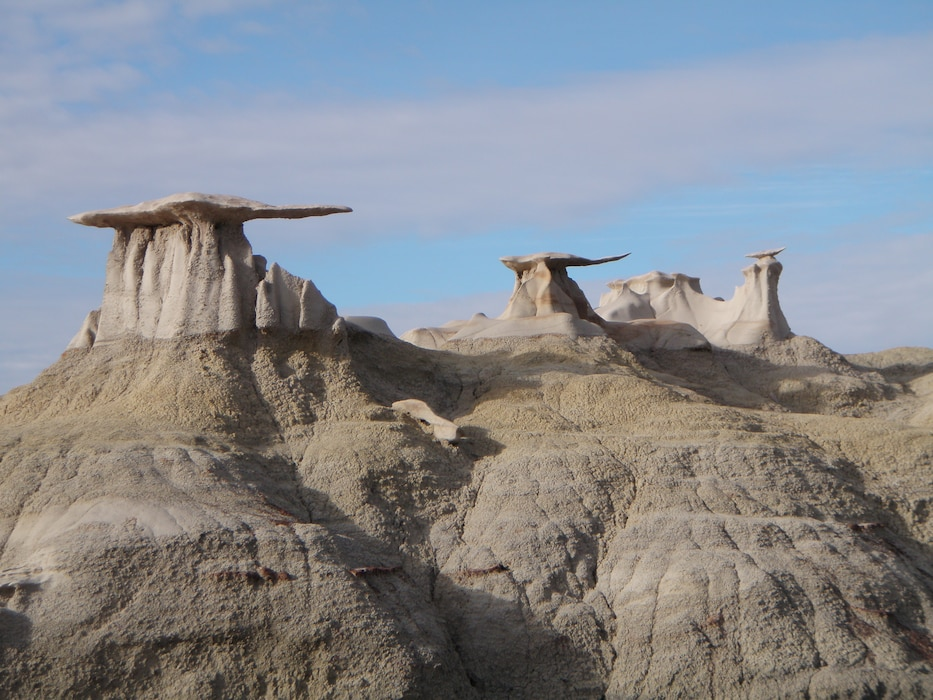 """The Badlands is the in the San Juan Basin. It is part of the Trail of Ancients Scenic Byway, prehistoric archaeological and geological sites. It was once a riverine delta and is located west of shore of an ancient sea, Western Interior seaway, which covered most of New Mexico 70 million years ago."" Photo by Amy Louise, Feb. 1, 2014."