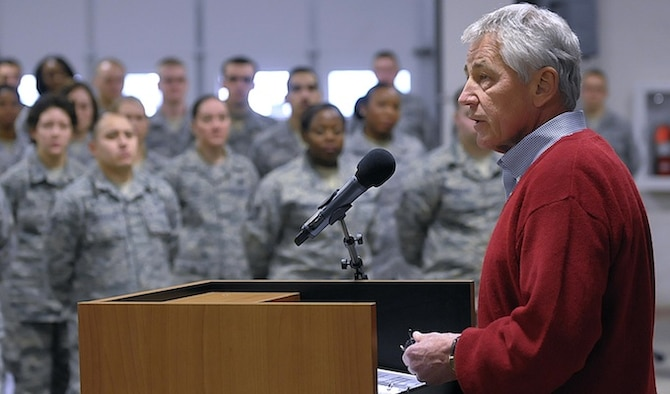 Defense Secretary Chuck Hagel visited Airmen from the 90th Missile Wing to learn about the ICBM mission Jan. 9, 2014, at F.E. Warren Air Force Base, Wyo. While flying back to Washington D.C. from the Munich Security Conference in Germany, the secretary made a series of surprise phone calls to six Malmstrom Air Force Base officers pulling alert duty Feb. 1, 2014. In a series of candid conversations that lasted approximately one hour, Secretary Hagel relayed his confidence in their ability to carry out the nuclear mission. He also took time to listen to their concerns and relayed that he deeply appreciates their critical service to the nation. (U.S. Air Force photo/R.J. Oriez)