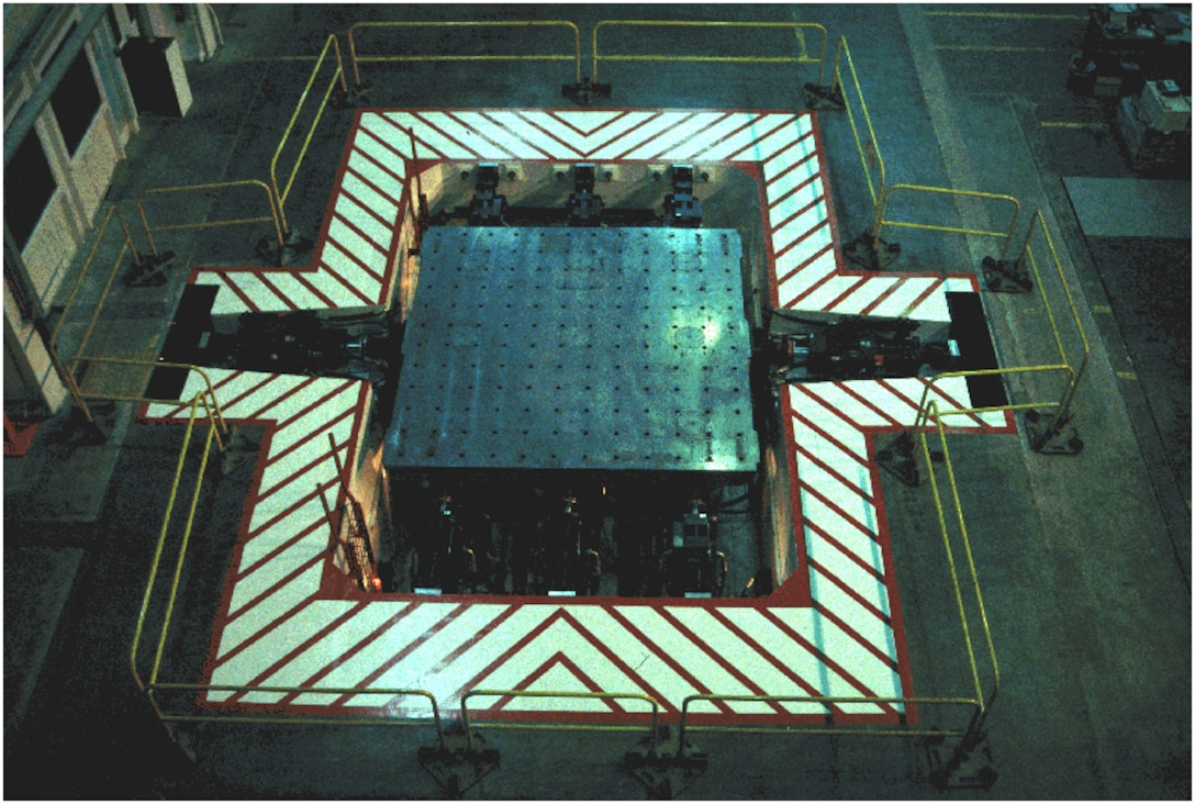 "A bird's-eye view of the ""shake table"" apparatus at the TESS facility."