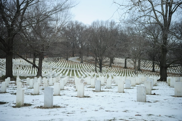 Arlington National Cemetery, Va. contains the gravesites of more than 400,000 service members, their families, military chaplains, nurses, confederate and union soldiers, former slaves, presidents and senators. The cemetery has the second largest number of burials of any national cemetery in the United States, with approximately 6,900 burials a year; just behind Calverton National Cemetery in Long Island, N.Y. (U.S. Air Force Photo/Airman 1st Class Joshua R. M. Dewberry)