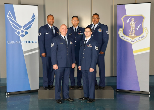 McGHEE TYSON AIR NATIONAL GUARD BASE, Tenn. – Students attending the Satellite Noncommissioned Officer Academy Class 13-9, from the 151st Air Refueling Wing, Salt Lake City, Utah. gather at the I.G. Brown Air National Guard Training and Education Center here, Dec. 10, 2013. (U.S. Air National Guard photo by Master Sgt. Kurt Skoglund/Released)